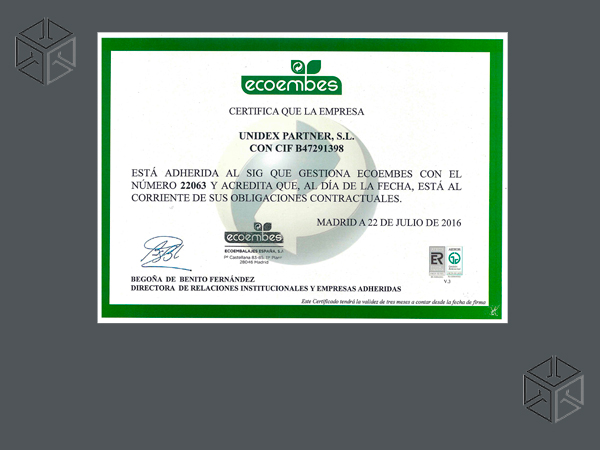 Certificado Ecoembes