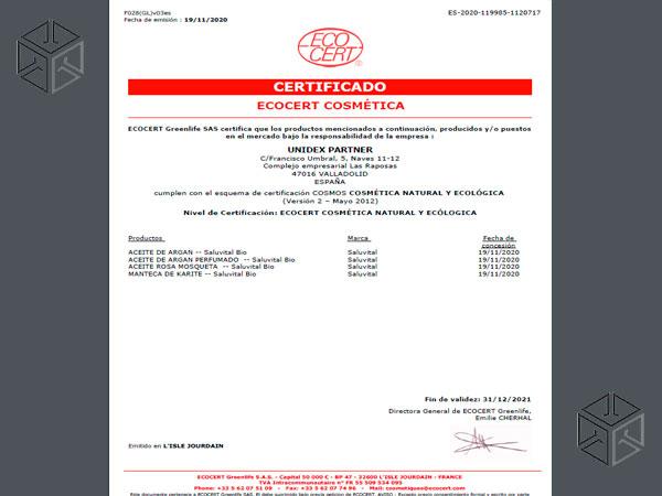 ECOCERT Cosmos certificate