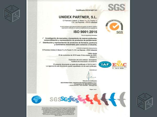 UNIDEX Partner ISO 9001